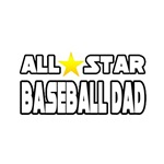 'All Star Baseball Dad' baseball coach shirts and gifts