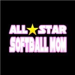 'All Star Softball Mom' softball coach shirts and gifts